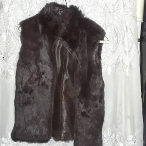 Fur and leather reversible vest